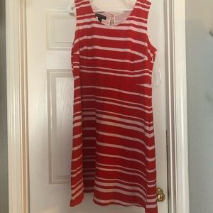Red & white striped dress 70% cotton size 1x